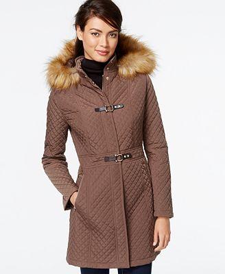 Ivanka Trump Faux-Fur-Trim Quilted Buckle Coat - Coats ...