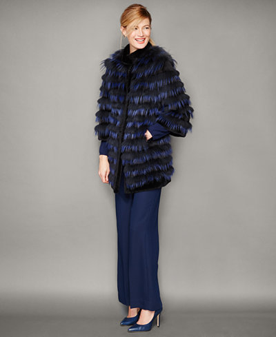 The Fur Vault Striped Fox Fur Jacket
