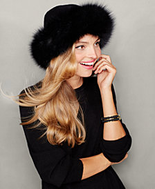 The Fur Vault Fox-Fur-Trim Cashmere Hat