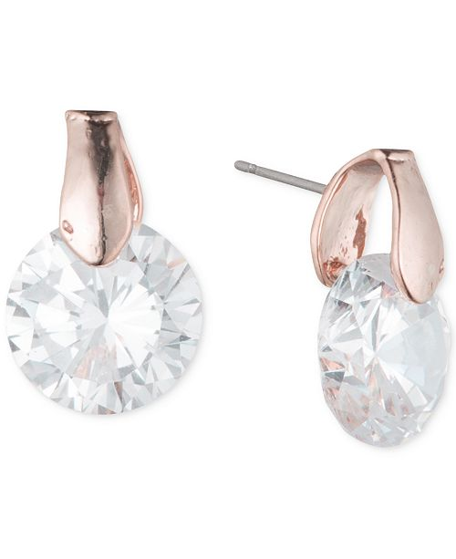 Anne Klein Round Crystal Stud Earrings
