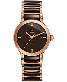 Rado Women's Swiss Automatic Centrix Diamond Accent Rose Gold-Tone PVD Stainless Steel Bracelet Watch 28mm R30183722