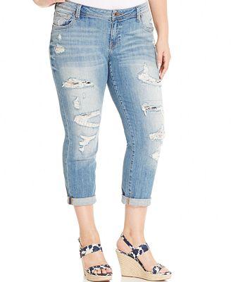 Lucky Brand Jeans Trendy Plus Size Ripped Boyfriend Jeans - Jeans ...
