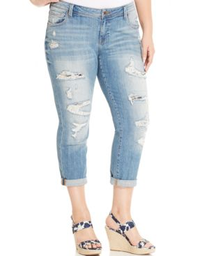 Image of Lucky Brand Jeans Trendy Plus Size Ripped Boyfriend Jeans