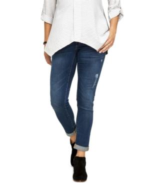 Luxe Essentials Denim Maternity Ripped Boyfriend Jeans  Dark Wash
