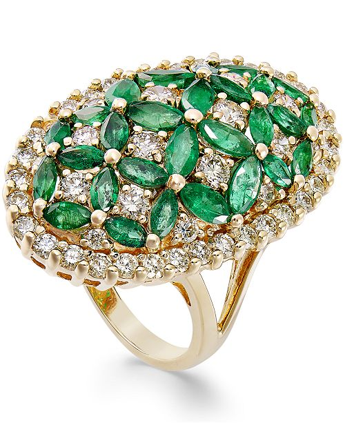 Macy's Emerald (3-1/5 ct. t.w.) and Diamond (1-3/4 ct. t.w.) Floral-Inspired Ring in 14k Gold