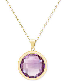Victoria Townsend Amethyst Bezel Pendant Necklace (16-1/2 ct. t.w.) in 18k Gold over Sterling Silver