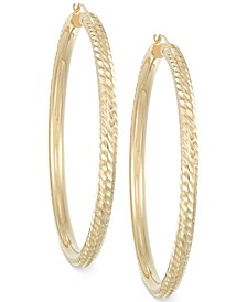 Signature Gold™ Diamond-Cut Hoop Earrings in 14k Gold over Resin