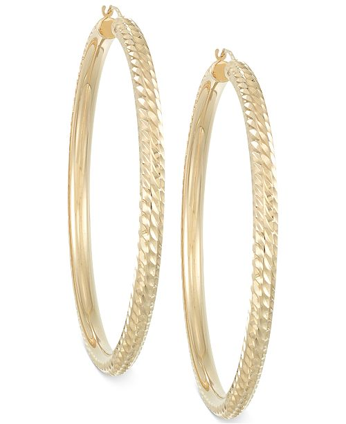 Italian Gold Signature Gold™ Diamond-Cut Hoop Earrings in 14k Gold over Resin