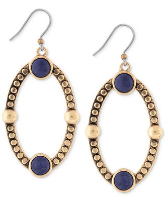 Lucky brand gold tone lapis oval drop earrings jewelry for Macy s lucky brand jewelry