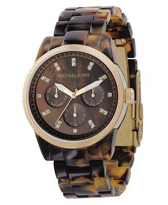 Michael Kors Women's Chronograph Ritz Acrylic Tortoiseshell Bracelet Watch 38mm MK5038