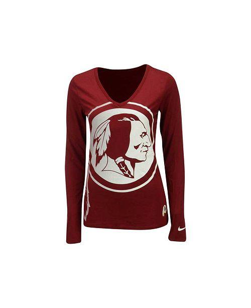 Nike Women's Long-Sleeve Washington Redskins Logo Wrap T-Shirt