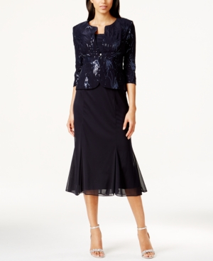 1930s Evening Dresses | Old Hollywood Dress Alex Evenings Sequined A-Line Midi Dress and Jacket $189.00 AT vintagedancer.com