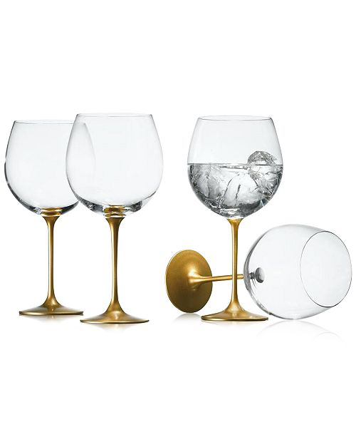 The Cellar Gold Set of 4 Wine Glasses, Created for Macy's