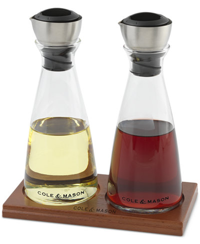 Cole & Mason Flow Select Oil & Vinegar Set with Wood Tray