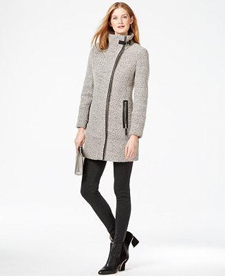 Calvin Klein Faux Leather Trim Asymmetrical Tweed Coat