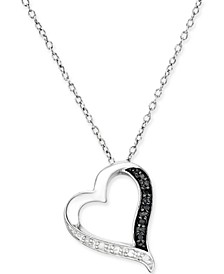 Black and White Diamond Heart Pendant Necklace (1/10 ct. t.w.) in Sterling Silver