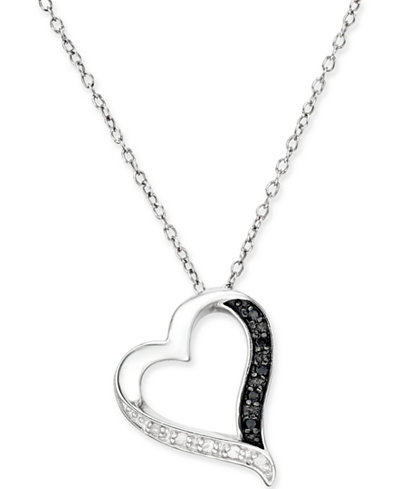Black and white diamond heart pendant necklace 110 ct tw in black and white diamond heart pendant necklace 110 ct tw in mozeypictures Gallery