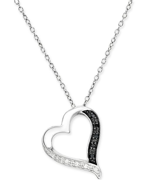 68c56fa868b5a Macy s Black and White Diamond Heart Pendant Necklace (1 10 ct. t.w. ...