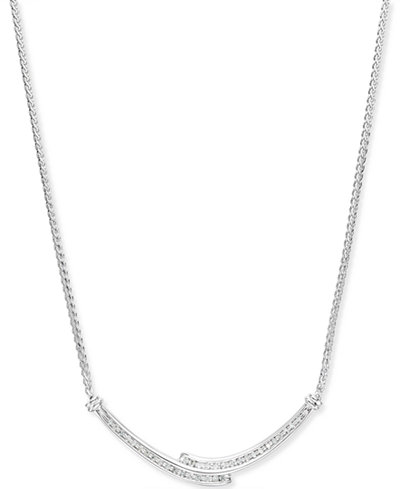 Diamond Bypass Pendant Necklace (1/4 ct. t.w.) in Sterling Silver