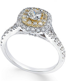 Diamond Two-Tone Engagement Ring (1 ct. t.w.) in 14k Gold and White Gold