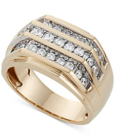 Men's Three Row Diamond Ring (1 ct. t.w.) in 10K Gold