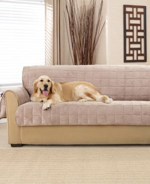 Sure Fit Deep Pile Polyester Velvet with Non-Skid Paw Print Pet Back Sofa Furniture Cover