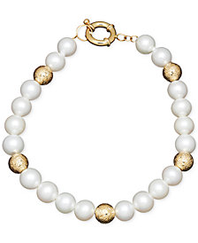 Honora Style Cultured Freshwater Pearl (7mm) and Bead Bracelet in 14k Gold