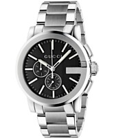 0276c987177 Gucci Men s Swiss Chronograph Stainless Steel Bracelet Watch 44mm YA101204