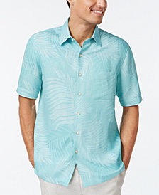 Tasso Elba Linen Leaf Jacquard Short-Sleeve Shirt, Created for Macy's