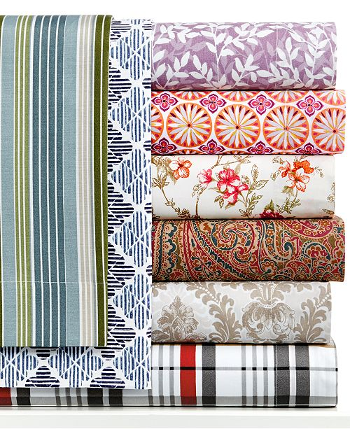 Jessica Sanders  Printed Sheet Sets, 220 Thread Count, Created for Macy's