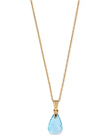 "Citrine Briolette 18"" Pendant Necklace (4 ct. t.w.) in 14k Gold (Also in Blue Topaz)"