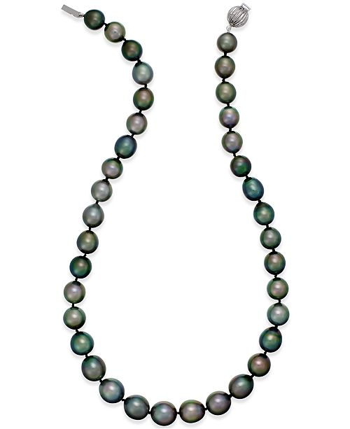 Macy's Cultured Tahitian Black Pearl (10-12mm) Strand Necklace in 14k White Gold