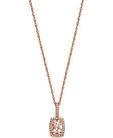 Morganite (1/2 ct. t.w) and Diamond Accent Pendant in 14k Rose Gold