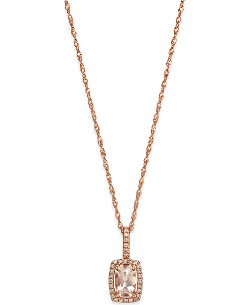 Macy's Morganite (1/2 ct. t.w) and Diamond Accent Pendant in 14k Rose Gold