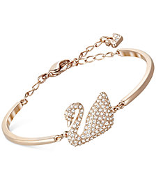 Swarovski Rose Gold-Tone Crystal Swan Bangle Bracelet