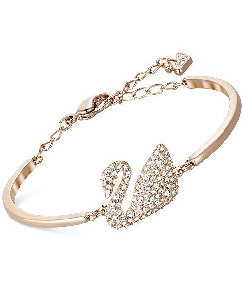 Rose Gold Tone Crystal Swan Bangle Bracelet