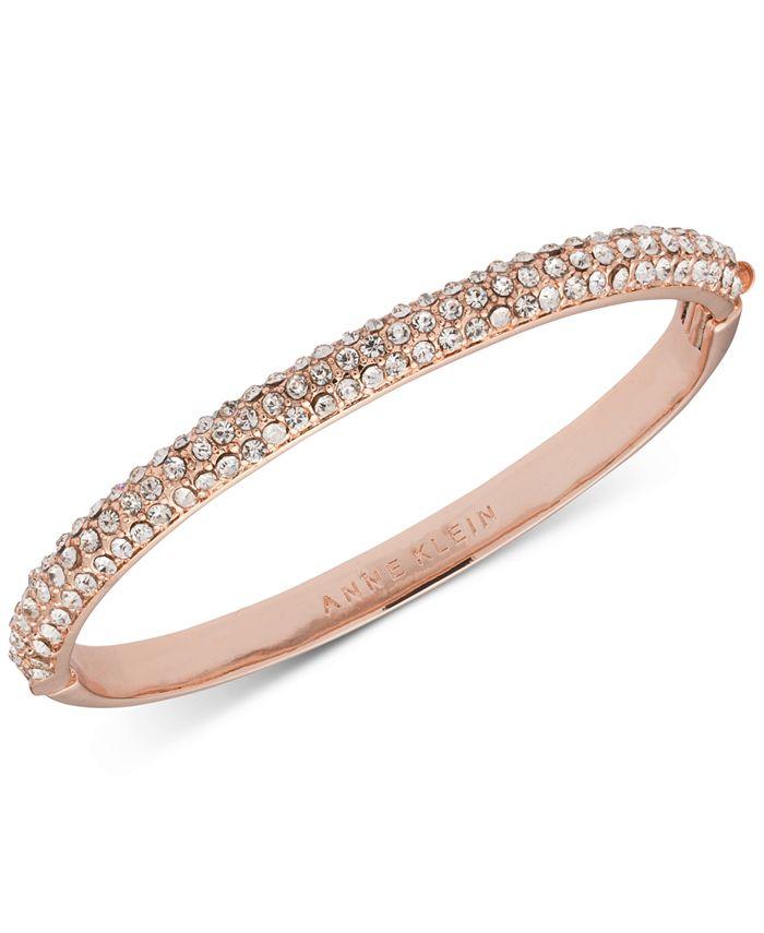 Anne Klein - Rose Gold-Tone Crystal Pavé Bangle Bracelet