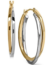 Intertwined Hoop Earrings in 14k Gold, Two Tone, or White Gold, 1 inch