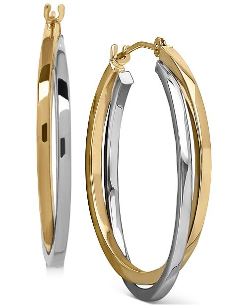 Macy's Intertwined Hoop Earrings in 14k Gold, Two Tone, or White Gold, 1 inch