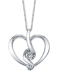Proud Mom Diamond Heart Pendant Necklace (1/5 ct. t.w.) in 14k Gold or White Gold