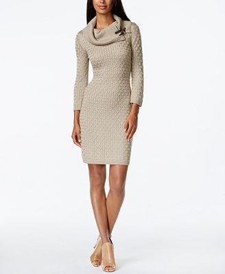 Calvin Klein Textured Cowl-Neck Sweater Dress Image