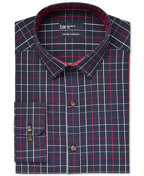 Bar III Carnaby Collection Slim-Fit Navy Framed Check Dress Shirt, Created for Macy's