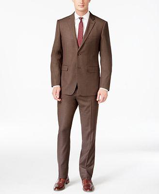 Perry Ellis Portfolio Slim-Fit Brown Sharkskin Suit - Suits & Suit ...