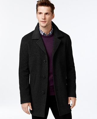 Calvin Klein Men's Single-Breasted Cashmere & Wool Peacoat - Coats ...