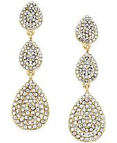 INC International Concepts Pavé Crystal Triple Drop Earrings, Created for Macy's