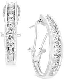 Diamond J Hoop Earrings (1 ct. t.w.) in 10k Gold or White Gold