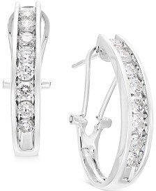 Diamond J Hoop Earrings (1 ct. t.w.) in 10k Gold, White Gold or Rose Gold