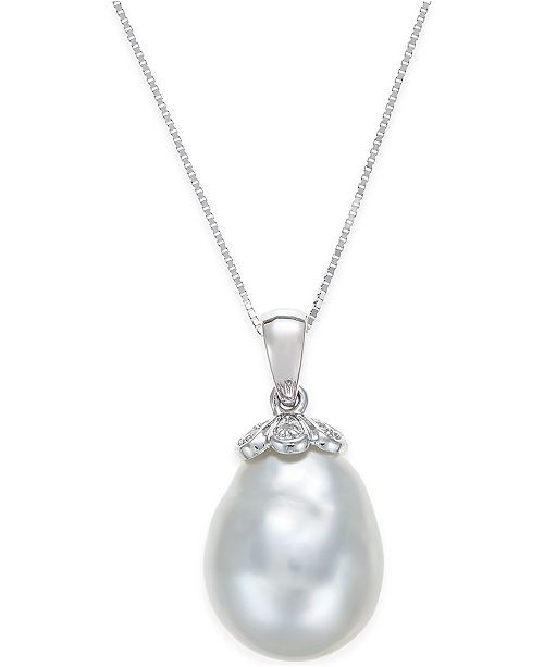 Macy's Cultured South Sea Baroque Pearl (11mm) and Diamond Accent Pendant Necklace in 14k White Gold