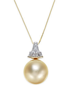 Cultured Golden South Sea Pearl (12mm) and Diamond (1/8 ct. t.w.) Pendant Necklace in 14k Gold