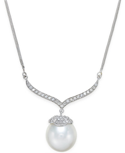 Cultured South Sea Pearl (12mm) and Diamond (3/8 ct. t.w.) Pendant Necklace in 14k White Gold
